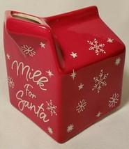 Christmas Snowflake Mug Milk For Santa Red Ceramic Carton Farmhouse Holi... - $13.84