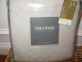 2 Vera Wang Love Knots Matelasse Grey King Shams - $93.07