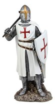 Ebros White Cloak Caped Medieval Crusader Bardiche Axeman with Shield of Christ  - $35.99