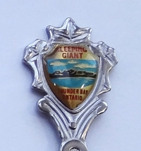 Collector Souvenir Spoon Canada Ontario Thunder Bay Sleeping Giant Mesa Emblem - $4.99