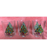Vintage ACTION CHRISTMAS TREE Set of 3 Double Old Fashioned Glasses 14 o... - $19.79