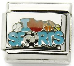 9mm Italian Charm I Love Sports Basketball Soccer Baseball Softball Foot... - $7.87