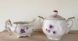 VINTAGE Lefton China Hand Painted Miniature Sugar Bowl & Creamer Purple Floral - $31.50