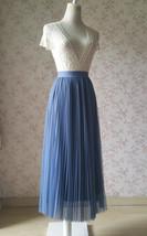 Dusty Blue Pleated Tulle Skirt Plus Size High Waist Pleat Bridesmaid Long Skirt image 6