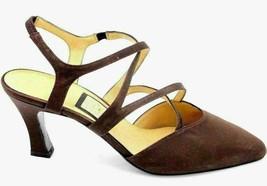 Nina Women Pointed Toe Strappy Slingback Heels Size US 8.5M Dark Brown Satin - $20.20