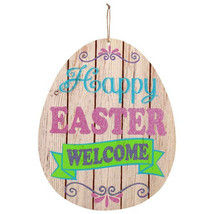 Egg-Shaped Wooden Wall Sign Happy Easter Welcome w - $6.99