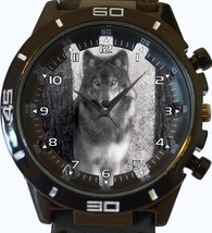 Haunted Grey Wolf Stare Trendy Sports Style Unisex Gift Watch - $34.99