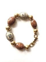 Vintage EmJ Emmons Gold Tone Faux Stone Scarab Bracelet Unique Band Retr... - $37.75