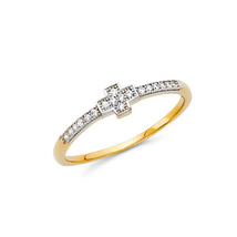14K Solid Gold Small Cross Cubic Zirconia Fancy Ring - £78.20 GBP