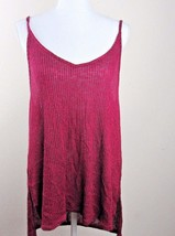 Express Woman's Burgundy Tunic Top Thin Straps Deep V Back Size L - $19.79