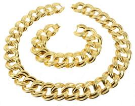 """Vintage Gold Tone Big Flat Curb Link 7/8"""" Width Necklace 18"""" & Bracelet ... - $87.74"""