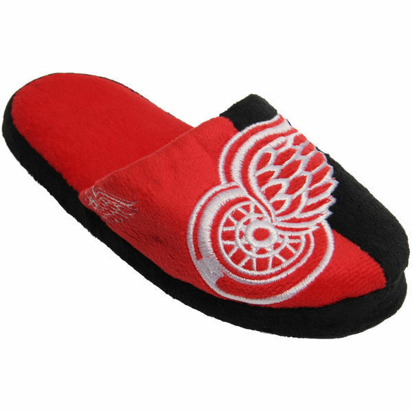NHL Detroit Red Wings Hockey Split Color Slide Fan Slipper SD8022 Men's 7-8 NWT