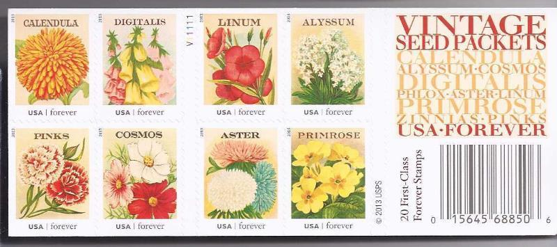 Primary image for VINTAGE SEED PACKETS USA-FOREVER 20 First Class