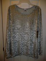 White Stag Women's Long Sleeve Velvet Top Medium 8-10 Soft Silver NEW - $14.84