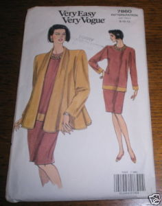 VOGUE PATTERN #7860 SZ 8-10-12 JACKET TOP SKIRT UNCUT