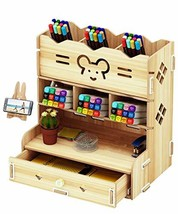 C£¦Life DIY Wooden Desk Organizer with Drawer, Pen Holder Box Desktop Stationary