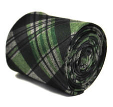 Frederick Thomas navy blue and green check tweed tie FT2142 100% wool