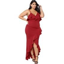 Womens Plus Size Sexy Dress V Neck Spaghetti Straps Ruffled Trim Long Back Dress - $31.99