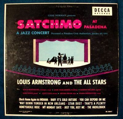 "LOUIS ARMSTRONG  "" Satchmo At Pasadena ""   1960 Jazz LP"