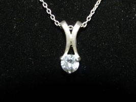 Vintage sterling silver & cubic zirconia pendant necklace - $17.10