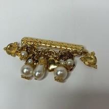 Vtg Signed LES BERNARD Gold tone BAR BROOCH w Dangling faux PEARLS Hearts  - $28.01