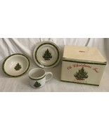"Vintage Russ ""Oh Christmas Tree"" 3 Pc Child Feeding Set Ceramic w/Box Un... - $34.64"