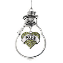 Inspired Silver Papa Green Pave Heart Snowman Holiday Ornament - $14.69