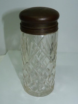 Antique Late 19C Crystal Talc Bottle with Copper Lid & Brass Top, H 14.8 cm - $73.50