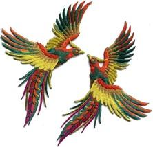 Phoenix phenix birds orange yellow green embr. appliques iron-on patches... - £5.26 GBP