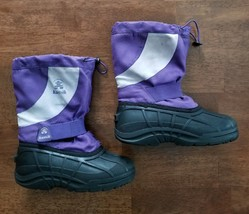 Kamik Youth Girls Snow Boots Size 2 Purple Waterproof Insulated Winter - $18.74
