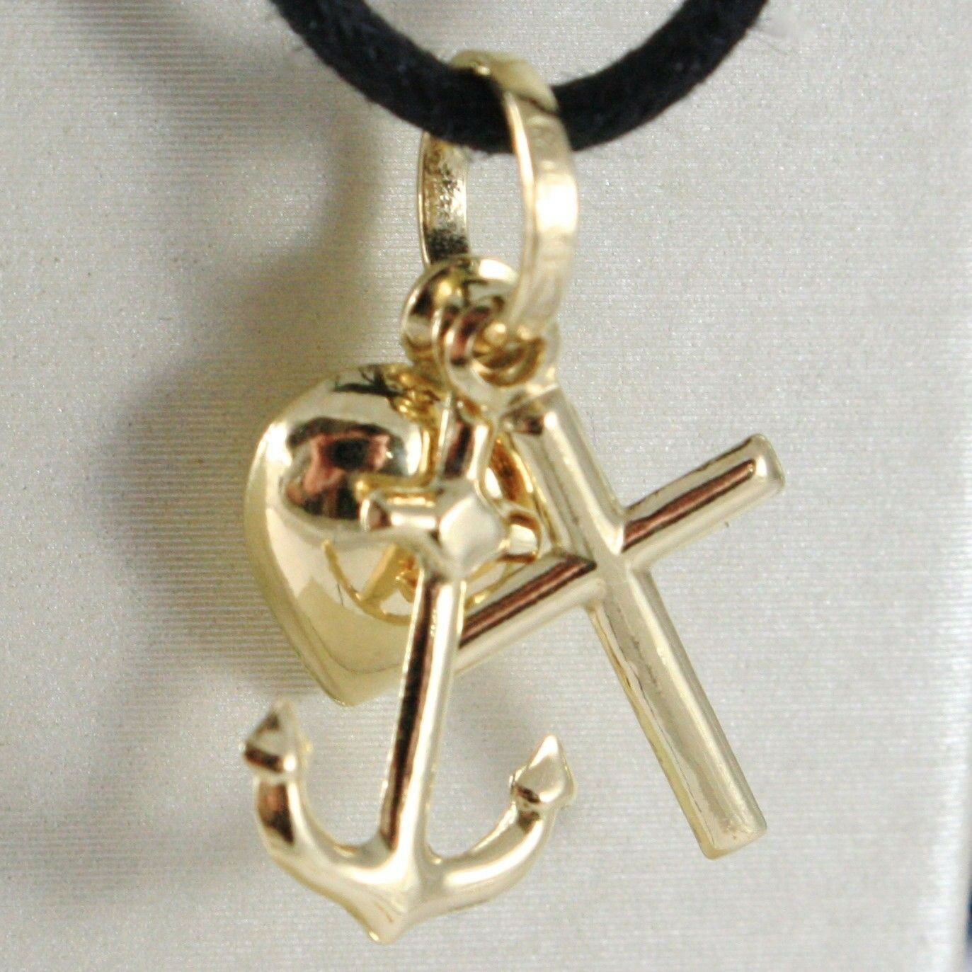 Yellow Gold Pendant White or 18K, Faith Hope Charity Heart, cross, Anchor