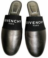 Givenchy Black / Gunmetal Leather Bedford Logo Mules Flats Sandals Slide... - $259.99