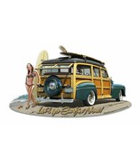 1946 Woodie with Bathing Beauty Pin Up Plasma Cut Metal Sign - $30.00