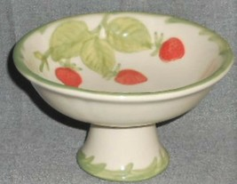 Franciscan STRAWBERRY FAIR PATTERN Embossed FOOTED/PEDESTAL COMPOTE - $79.19