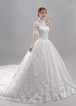 Affordable White Wedding Dresses Ball Gown Lace Flower - $195.00