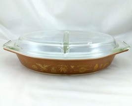 Pyrex Americana Vintage Brown Gold Divided Dish w/ 945-C Lid ~ Made in t... - $24.95