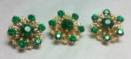 3 Vintage Emerald Green Scatter Pins - $12.00