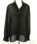 Norton McNaughton Size 20W Sheer Black Embroidery Ruffle Cuff Blouse - $17.99