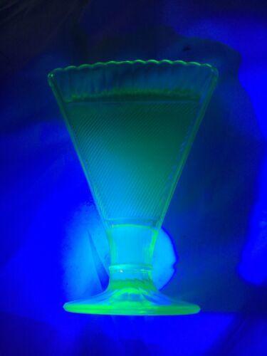 "Art Deco Green Vaseline Glass Fan Vase 7"" X 5"" 1.75"" Deep Optic Rib X Hatched"