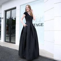Women BLACK A-Line Ruffle Skirt Lady Taffeta High Waist Midi Pleated Party Skirt image 6
