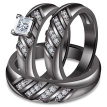 Black Gold Fn 925 Silver White Princess Diamond Wedding Ring Set & Free Shipping - $169.30