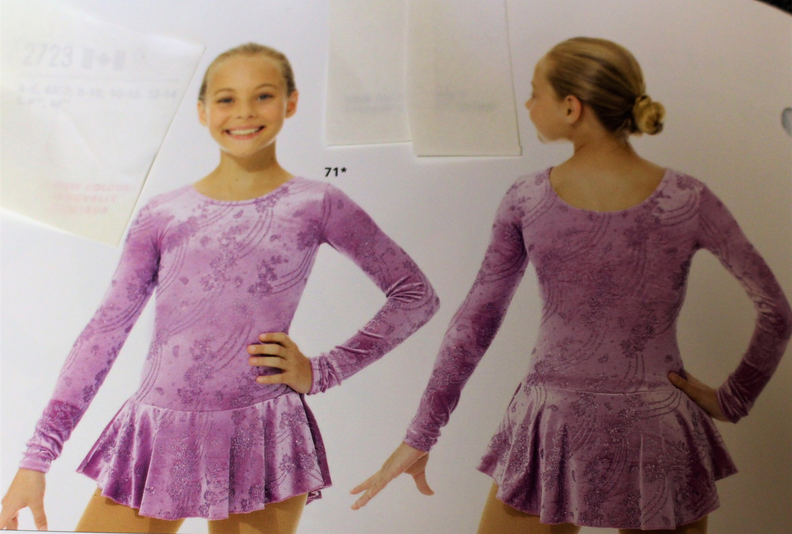 Primary image for Mondor Model 2723 Girls Skating Dress - Frosty Lavander - CHild 4-6