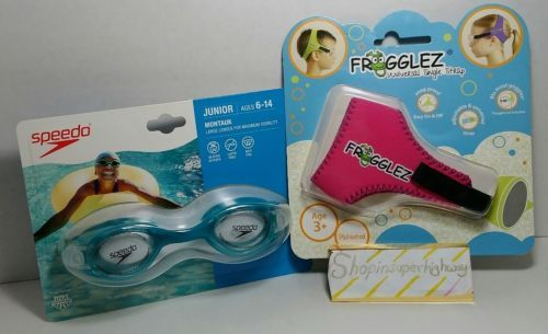 Turquoise Speedo Junior Goggles and Frogglez Universal Strap pink