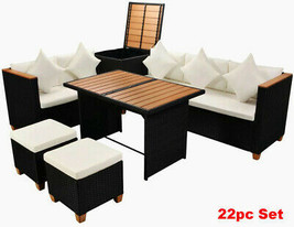 XL Dining Set Outdoor Patio Rattan Sofa Chair Ottoman Storage Box Furnit... - $1,280.00