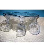 "ANCHOR HOCKING Savanah daisy flower glass punch bowl  set 8 cups ""S"" hoo... - $40.85"