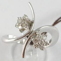 WHITE GOLD RING 750 18K, DOUBLE FLOWER ROSETTA WITH DIAMONDS CRISS CROSSED image 1