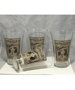 Coca Cola Re-creation Archives women heat in brown over set 4 clear glas... - $9.89
