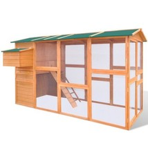 vidaXL Chicken Coop Hen Poultry House Cage Hutch Run Nest Solid Pinewood... - $387.99