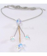 Women Swarovski Element AB Crystal White Gold Plated Long Party Necklace... - $17.69