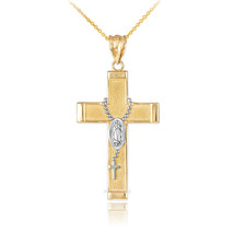 10K Two-Tone Yellow Gold Latin Cross Guadalupe Rosary Pendant Necklace - $109.99+